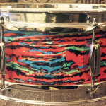 Vintage Rogers Snare in Walopus Psychedelic Red Drum Wrap
