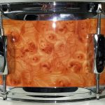 Elmwood Burl Drum Wrap with red stain